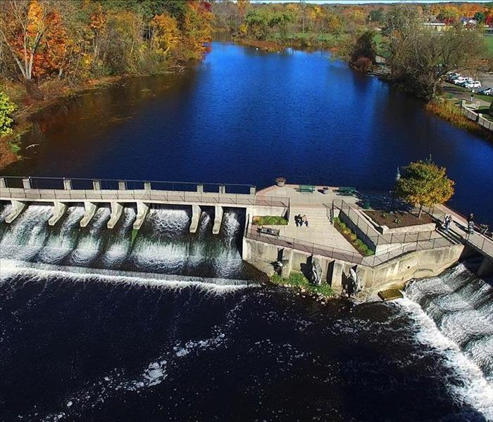 ariel view of Rockford Michigan Dams.