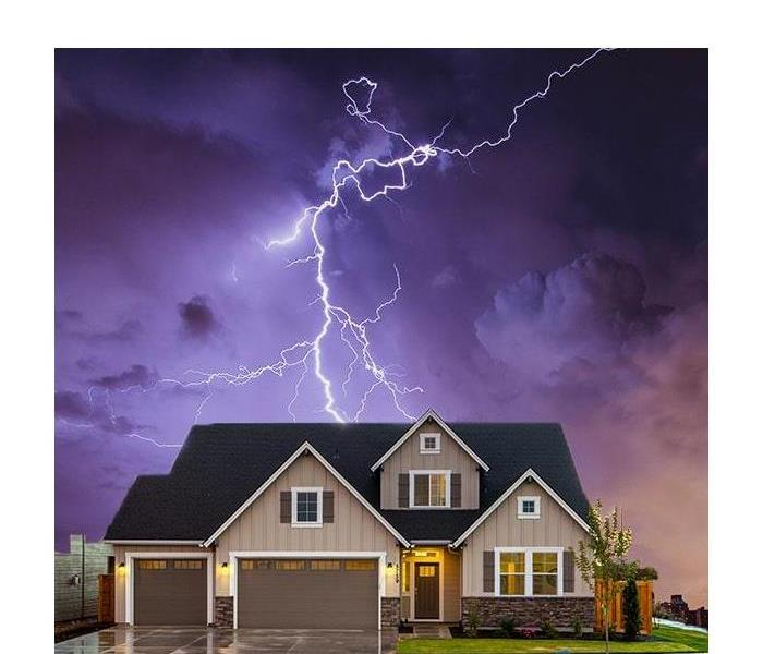House with lightning in the sky