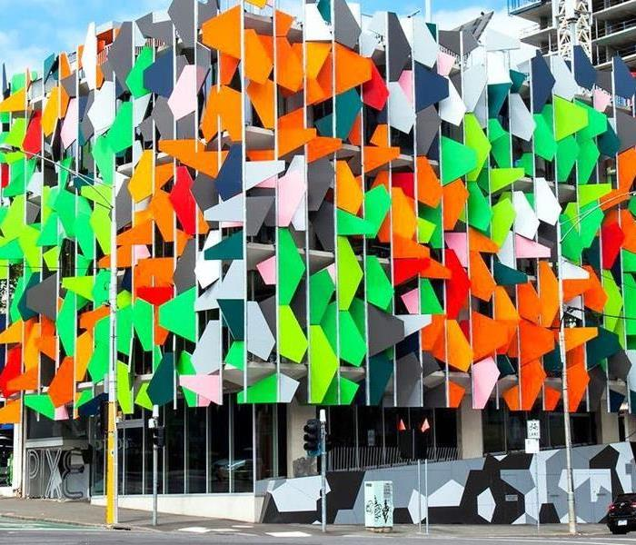 building decorated with orange and green